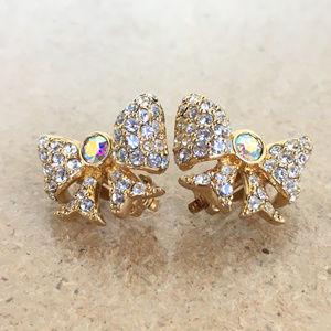 Vtg Swarovski Crystal Rhinestone Clip Bow Earrings